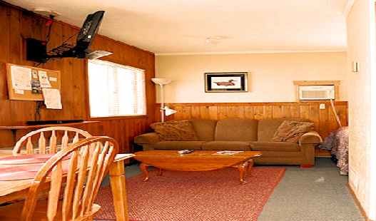 Lake Front Rental Cabin Six Living Area with Queen Sofa Bed